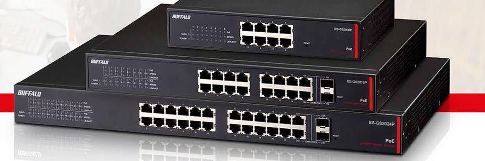 Die Managed und Unmanaged Multi-Port-Gigabit-Switches von Buffalo stecken in Metallgehäusen.