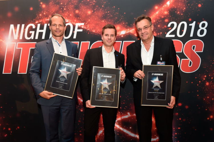 """VAD IT-Security"": Andreas Bechtold, Infinigate (Platin), Alexander Hassl, Ebertlang (Gold) und Florian Zink, Exclusive Networks (Gold)"