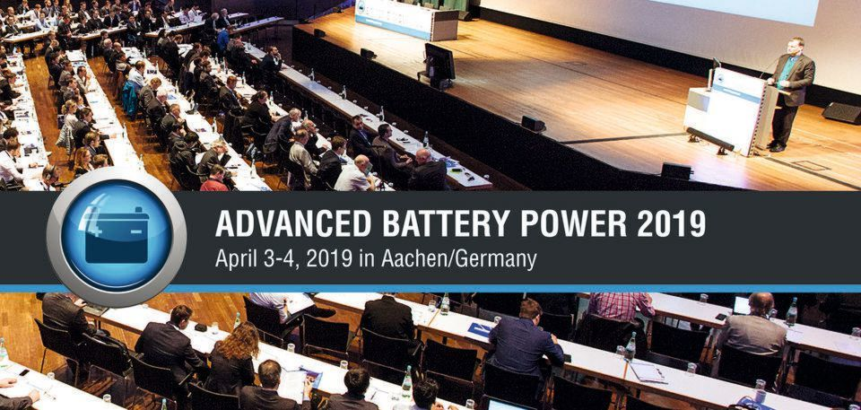 "Die internationale Konferenz ""Advanced Battery Power – Kraftwerk Batterie"" tagt am 3. und 4. April 2019 in Aachen."