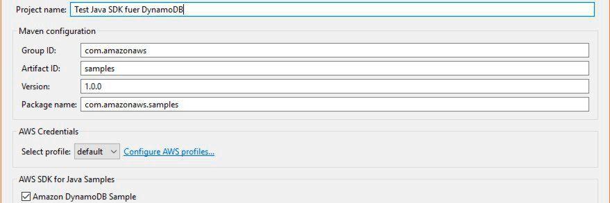 DynamoDB-Zugriff über AWS SDK for Java
