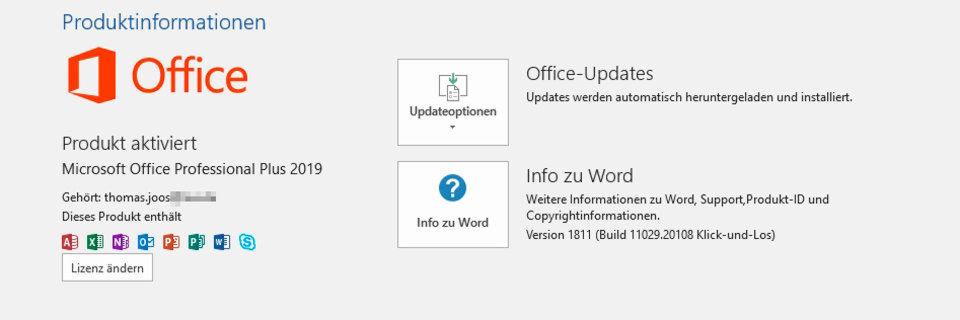 office 2019 ohne microsoft konto aktivieren