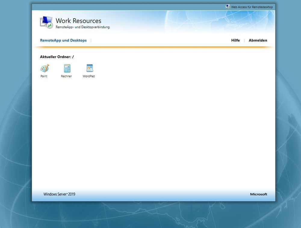 Remote Desktop Web Access in Windows Server 2019