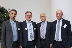 Cooperation (from left to right): Juergen Hupp (Fraunhofer IIS, Head of Communication Networks Department), Slobodan Puljarevic (EBV Elektronik, President) / Josef Sauerer (Fraunhofer IIS, Head of Division Smart Sensing and Electronics), Reinhard Pusch (RoodMicrotec, COO)