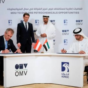 The memorandum of understanding between OMV and Adnoc was signed in the presence of Chancellor Sebastian Kurz and Crown Prince Sheikh Mohammed bin Zayed Al Nahyan.
