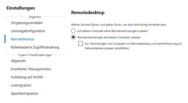 Einstellen von Serveroptionen im Windows Admin Center.
