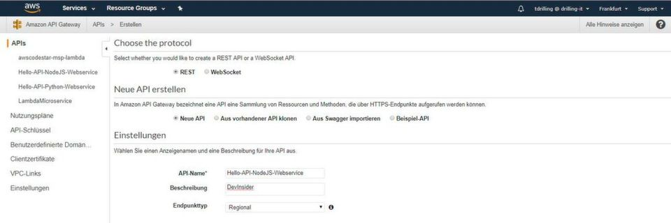 Abfrage-API für Amazon Web Services erstellen