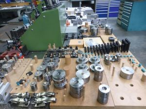 Neatly lined up: the Meusburger standard parts, which are assembled to form a stamping tool at Dieter Rest GmbH.