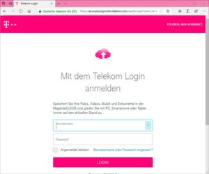 "Das HTTPS-gesicherte Web-Interface des Telekom-Cloud-Speichers ""Magentacloud""."
