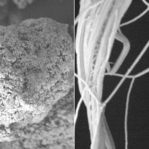 By mixing polymer powder in solution to generate a film that they then stretched, MIT researchers have changed polyethylene's microstructure, from spaghetti-like clumps of molecular chains (left), to straighter strands (right), allowing heat to conduct through the polymer, better than most metals.