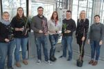 Fig. 2: Strong team - AG Sprink at the JKI work area 'New breeding techniques' (from left to right: Dr. Janina Metje-Sprink, Katharina Unkel, Dr. Thorben Sprink, Annett Beyer, Dr. Jochen Menz, Jana Goldschmidt and Enikö Lörincz-Besenyei