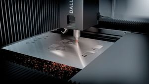 Dallan's Powersort system fastens the sheet during laser cutting, eliminating the need for a support.