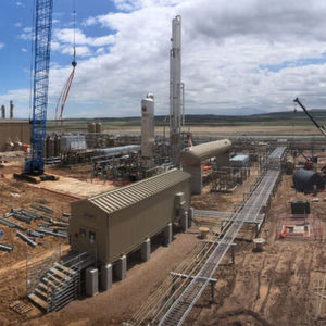 Construction of Steamboat I, Meritage Midstream's natural gas cryogenic processing plant in Wyoming's Powder River Basin (Converse County).