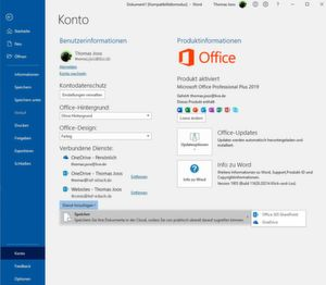 Microsoft OneDrive for Business in Office anbinden.