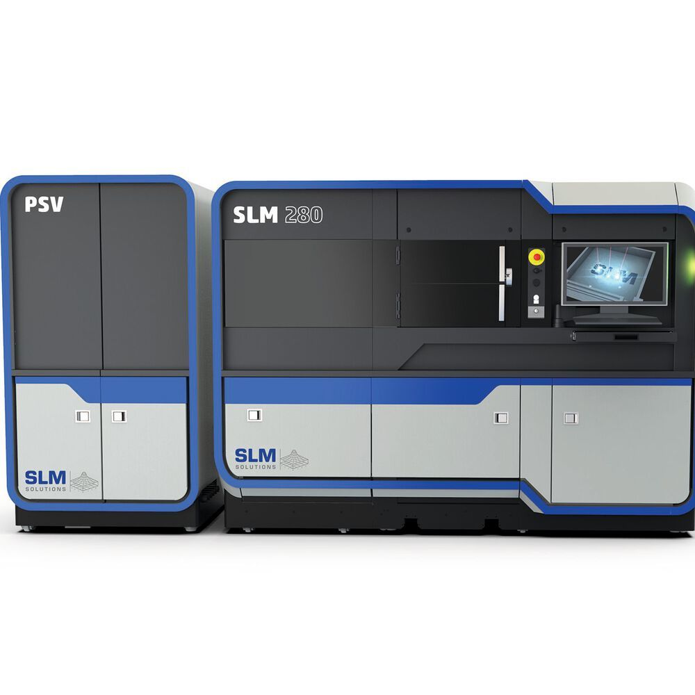 The SLM 280 production series from SLM Solutions with powder supply unit saves users manual refilling