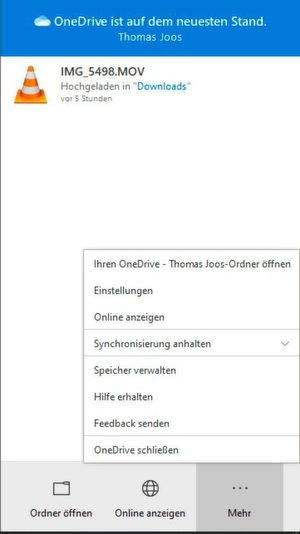Microsoft-OneDrive-Ordner in Windows 10 öffnen.