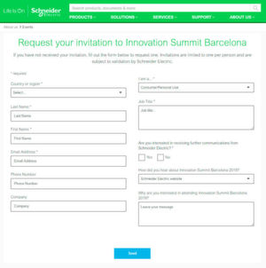 Registration form Marketing Automation