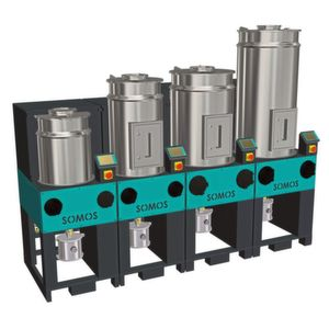 Depending on the required throughput, the modular stationary Somos RDF (Resin Dryer Flexible) resin drying system can be made up of a number of independently operating drying modules.