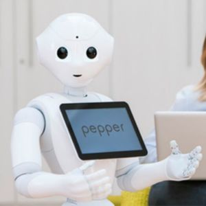The Pepper robot has the ability to interact with humans through conversation and its touch screen which is positioned on his chest.