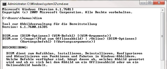 Dism.exe ist Bestandteil von Windows Server 2008 R2, Windows 7, Windows 8 und Windows Server 2012.