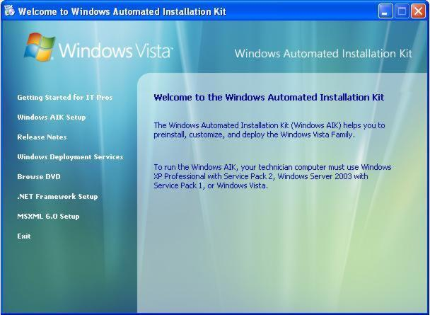 Abbildung 2: Einstiegsdialog Windows Automated Installation Kit (AIK)