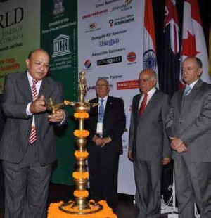 (LtoR) Dr. Anil Garg, Anil Razdan, H. E. Jame Nualart during the inauguration of World Renewable Energy Technology Congress