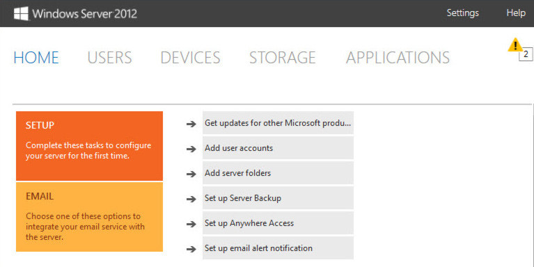 Das Dashboard in Windows Server 2012 Essentials ist die universelle Schaltzentrale für Administratoren