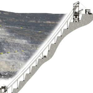 Thyssenkrupp Fördertechnik is developing and has patented a mining method that allows ore and overburden in hard rock mines to be transported without heavy truck transportation in inverted cone-shaped opencast mines.