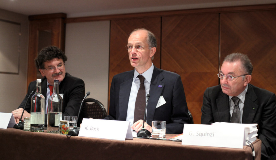 Sustainability vs. carbon dependence — highlight topic at the annual CEFIC meeting in London. From left: Hubert Mandery (Cefic Director General); Dr Kurt Bock (new Cefic president, and BASF Chairman); Georgio Squinzi (Cefic outgoing President, Confindustria President and Chief Executive of the Mapei Group)
