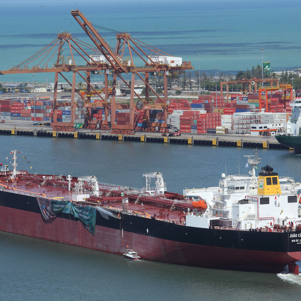 Petrobras tanker leaving a Brazilian harbour. The country has become an independent producer of heavy crudes,