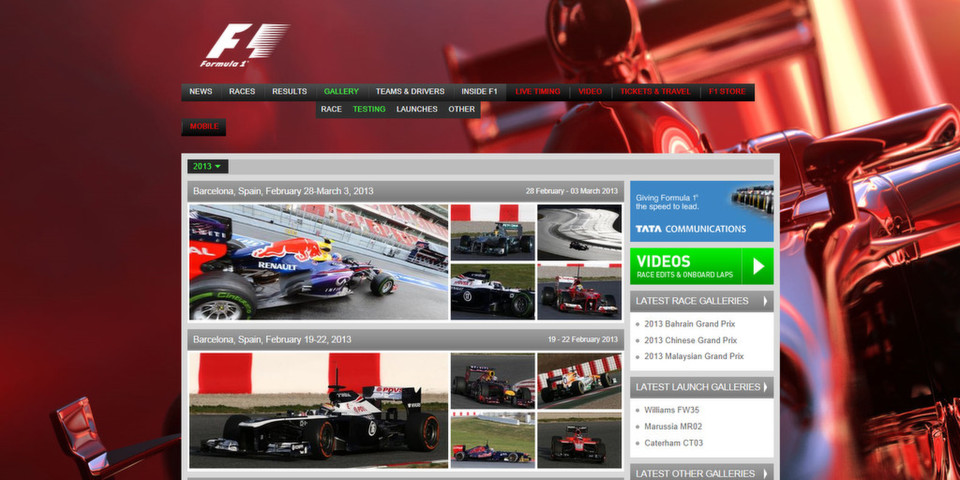 Tata Communications ist der Content Delivery Network Provider für die Website Formula1.com