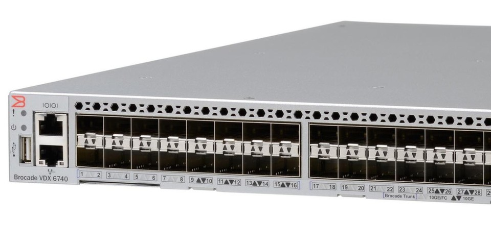 Bei der Brocade-VDX-6740-Familie handelt es sich um 10/40-GbE-Top-of-Rack-Switches mit 32 Flex Ports (Fibre Channel/Ethernet/FCoE).