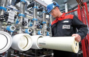 For quality assurance purposes each individual Lewabrane module is checked in an element tester at the Lanxess site in Bitterfeld Germany