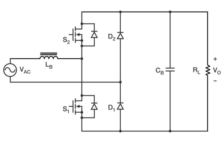 Bild 3: Die grundsätzliche Totem-Pole-PFC-Schaltung.