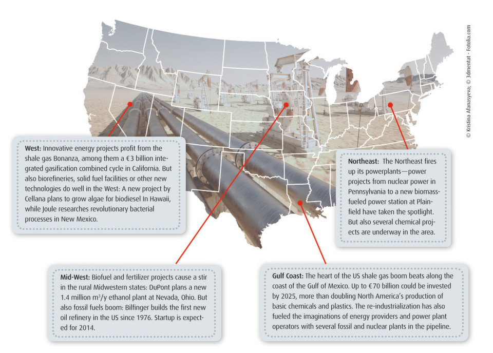 The US shale gas boom spawns plant engineering projects throughout the states.