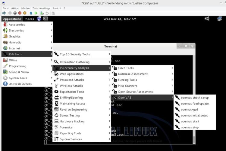 Nach dem Start von Kali Linux, müssen Sie zuerst die