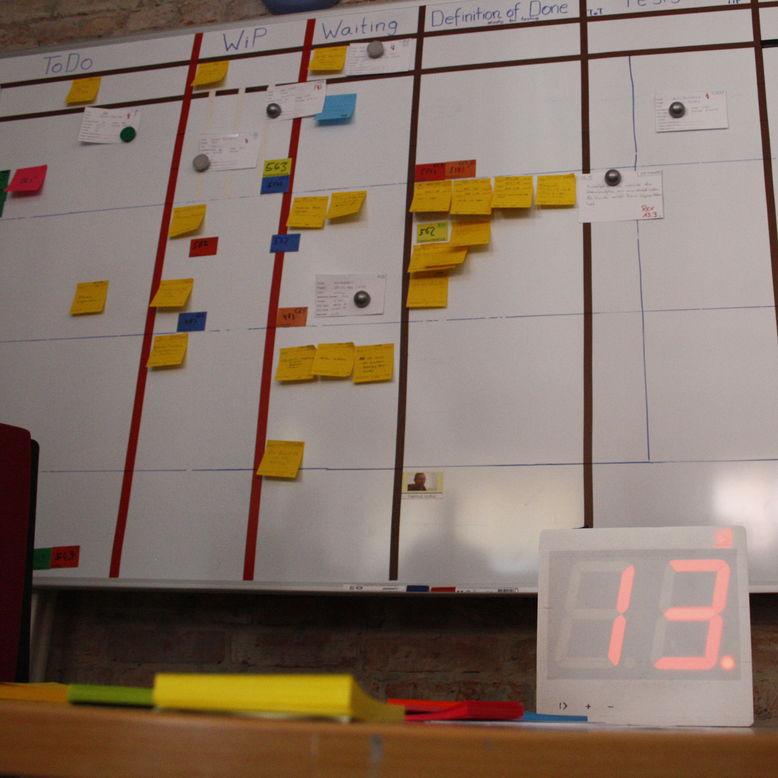 alles an einer wand das kanban board mit time box clock ist ein. Black Bedroom Furniture Sets. Home Design Ideas