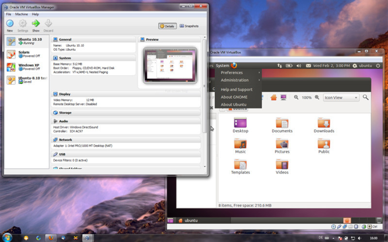 Virtua lBox for Windows. In der Anwendung läuft hier Ubuntu 10.10.