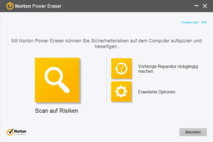 Der Norton Power Erase von Symantec im Windows-App-Look.