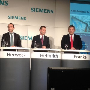 Peter Herweck, CEO of Siemens' Process Industries and Drives Division, Klaus Helmrich, member of the board and Ralf-Michael Franke, CEO of the Siemens Factory Automation Business Unit at SPS IPC Drives, where Siemens exhibits integral portfolio for industrial electrification, automation and digitalization.
