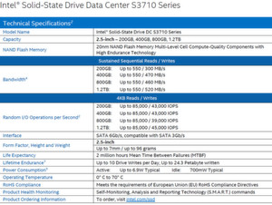 Intel SSD DC S3710 Spezifikationen
