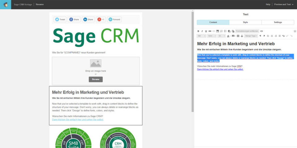 E-Mail-Marketing per Drag & Drop: Sage CRM 7.3 integriert MailChimp.