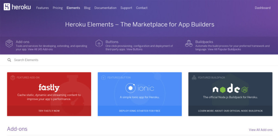 Heroku Elements kennt die Kategorien Add-ons, Buttons und Build-Packs.