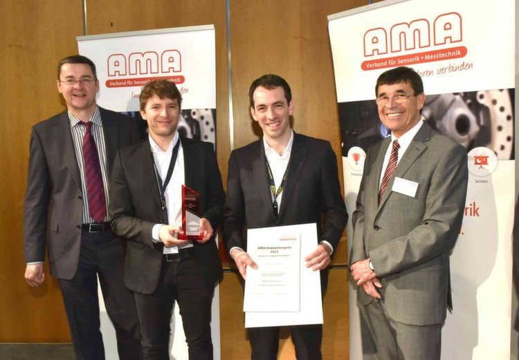 AMA Innovationspreis2015 – Gewinner: von links: Prof. Andreas Schütze (Uni. Saarland), Dr. Christoph Deutsch (Crystalline Mirror