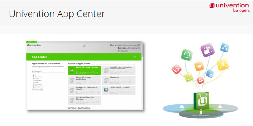 Nutzer des Univention Corporate Server installieren per Mausklick im App Center Softwarelösungen Dritter.