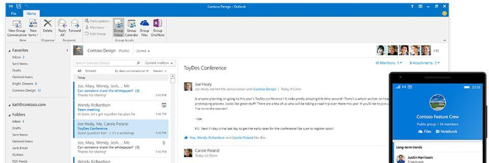 Office-365-Groups sind ab sofort Teil von Outlook 2016.