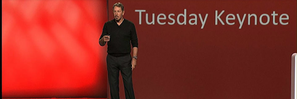 Larry Ellison, Executive Chairman und Chief Technology Officer von Oracle, bei seiner Eröffnungs-Keynote.
