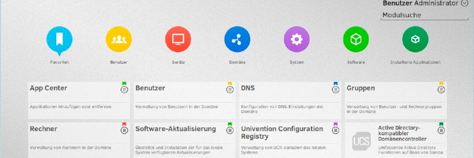 Die Management-Konsole von Univention Corporate Server