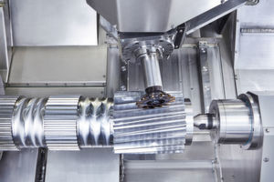Gear cutting solution on the M35 Millturn turning/drilling/milling centre: the Invomilling milling tool by Sandvik Coromant enables milling of straight and angled external gears.