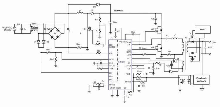 Bild 1: Schaltplan der digitalen PFC- und LLC-Kombilösung.