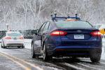 Der Fusion Hybrid fuhr selbsttätig auf schneebedeckter Straße.